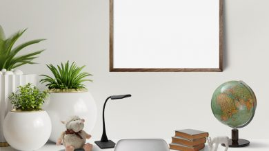 Photo of Desk Scene with Picture Frame Mockup Download