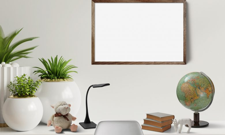 Desk Scene with Picture Frame Mockup