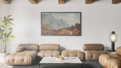 Photo of Poster Frame in rustic Living Room Mockup Download