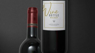 Photo of Red Wine Bottle with Label Mockup Download