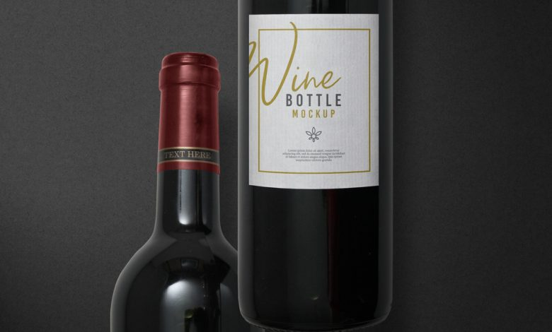 Red Wine Bottle with Label Mockup