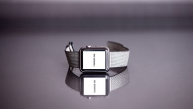 Photo of Silver Apple Watch with Reflection Mockup Download