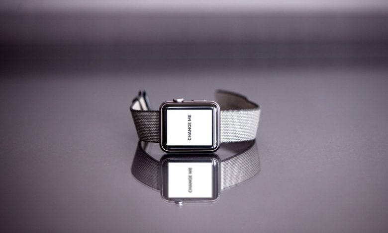 Silver Apple Watch with Reflection Mockup
