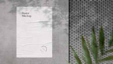 Photo of Wrinkled Poster on Wall Mockup Download