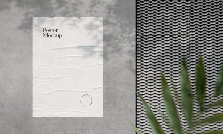 Wrinkled Poster on Wall Mockup