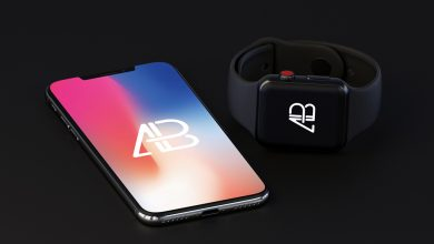 Photo of iPhone X with Apple Watch (Series 3) Mockup Download