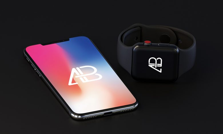 iPhone X with Apple Watch (Series 3) Mockup