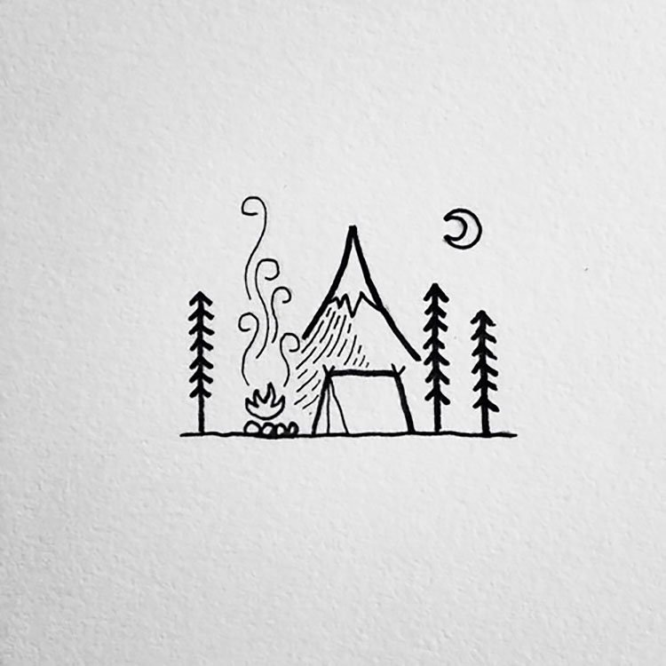 easy sketches to draw - CAMPING AREA
