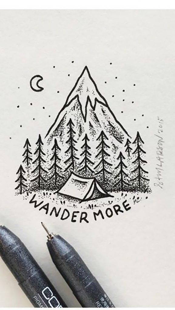 easy sketches to draw - CAMPING GROUND AND MOUNTAINS