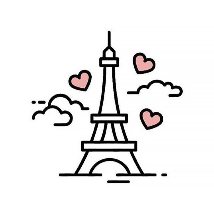easy sketches to draw - EIFFEL TOWER WITH HEARTS