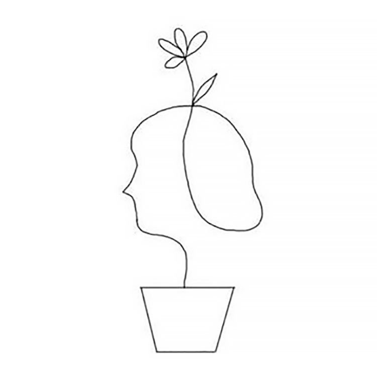easy sketches to draw - FACE IN FLOWER POT