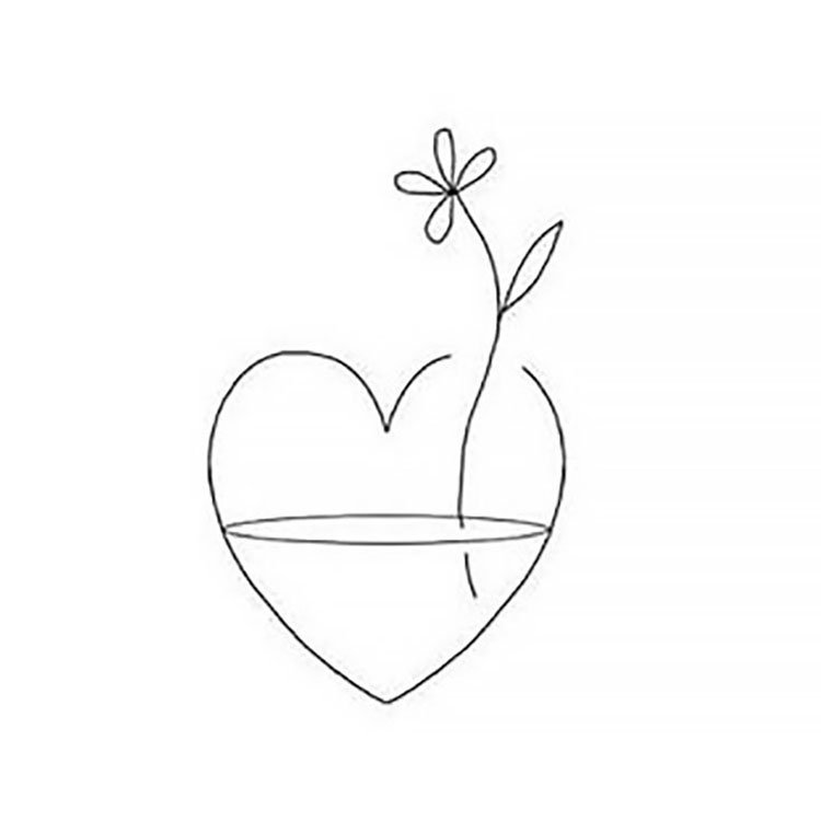 easy sketches to draw - FLOWER IN HEART