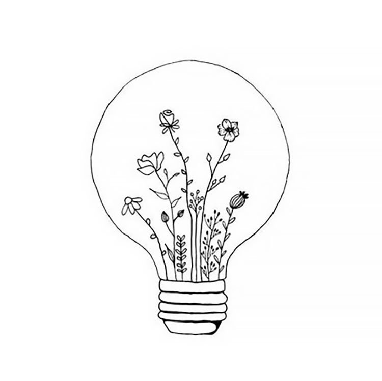 easy sketches to draw - FLOWERS IN LIGHT BULB
