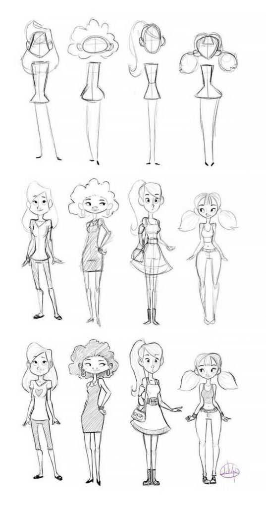 easy sketches to draw - GIRL CHARACTERS