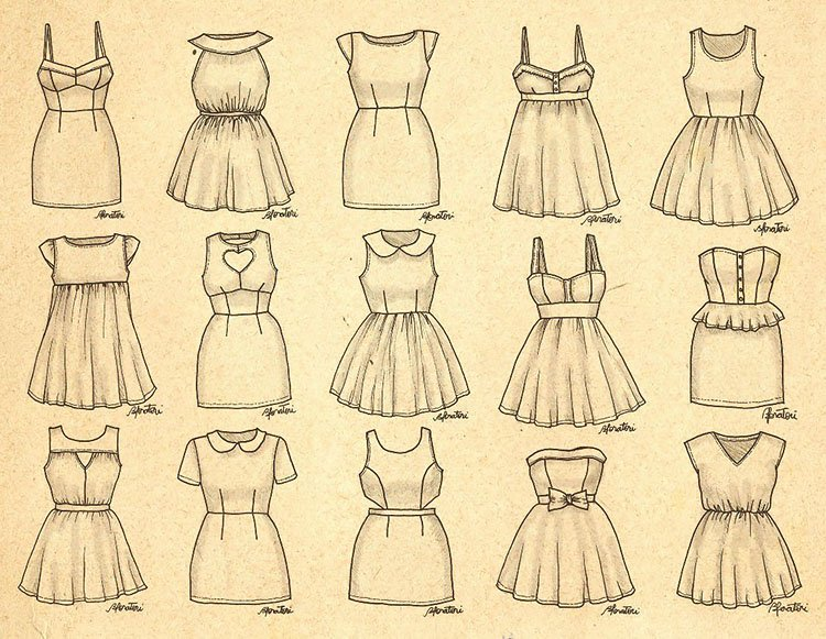 easy sketches to draw - GIRLY DRESSES
