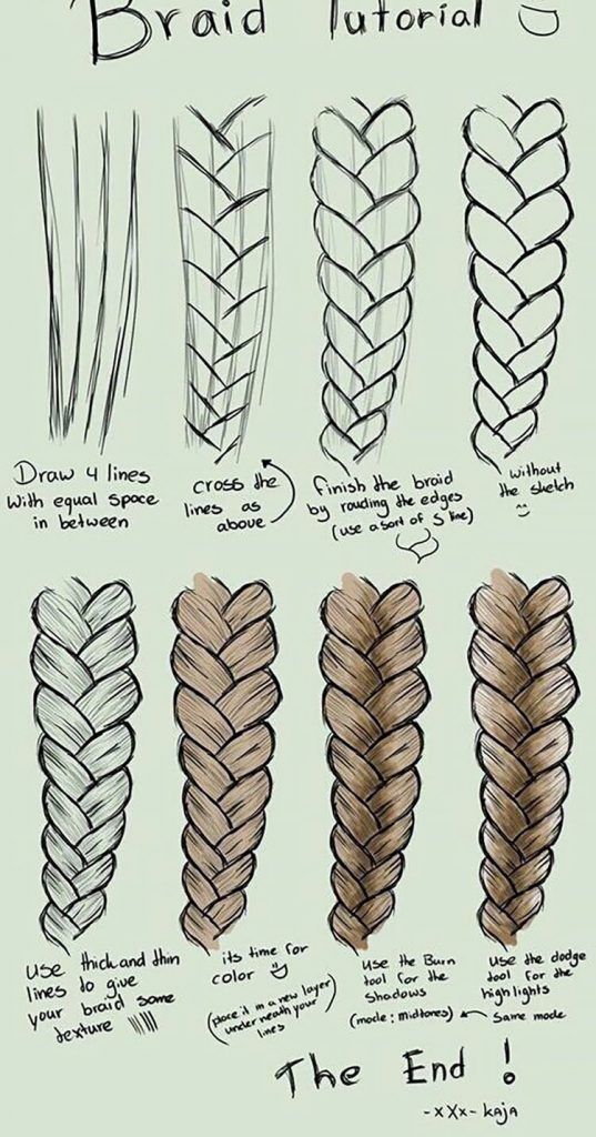 easy sketches to draw - HOW TO DRAW A BRAID