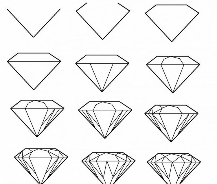 easy sketches to draw - HOW TO DRAW A DIAMOND
