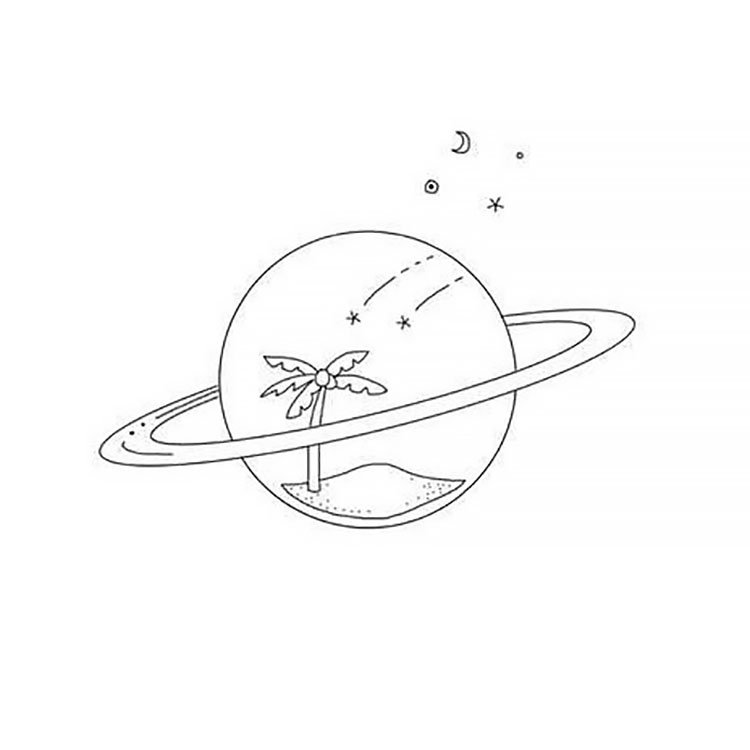 easy sketches to draw - PALM TREE INSIDE PLANET