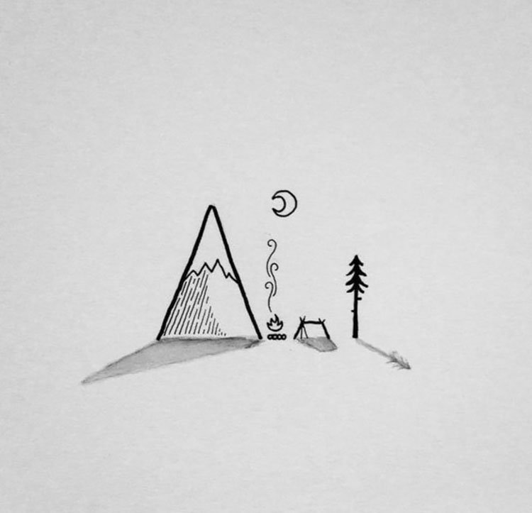 easy sketches to draw - SMALL CAMPING AREA