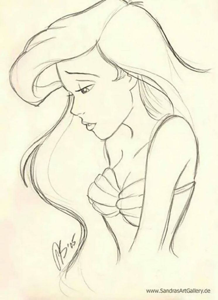 easy sketches to draw - THE LITTLE MERMAID