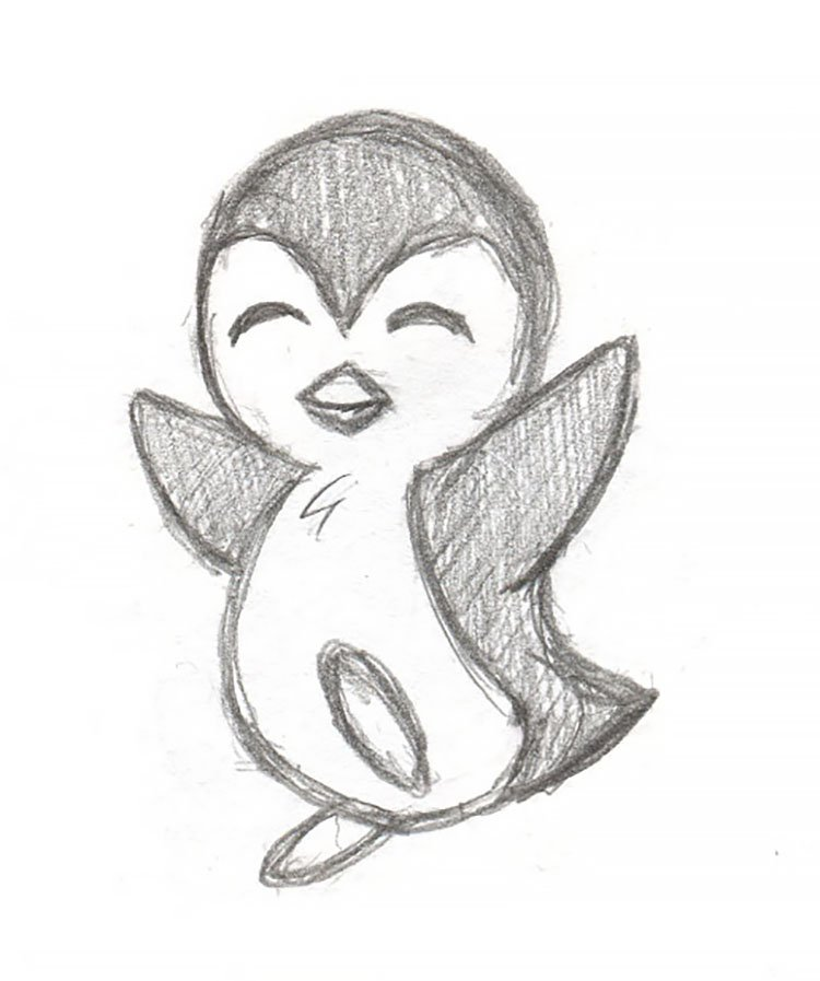 easy sketches to draw - TINY PENGUIN