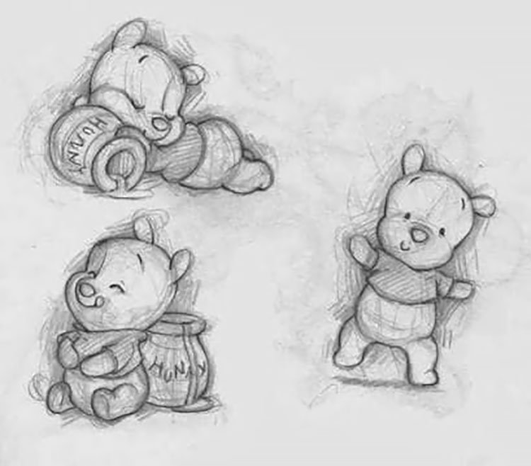 easy sketches to draw WINNIE THE POOH
